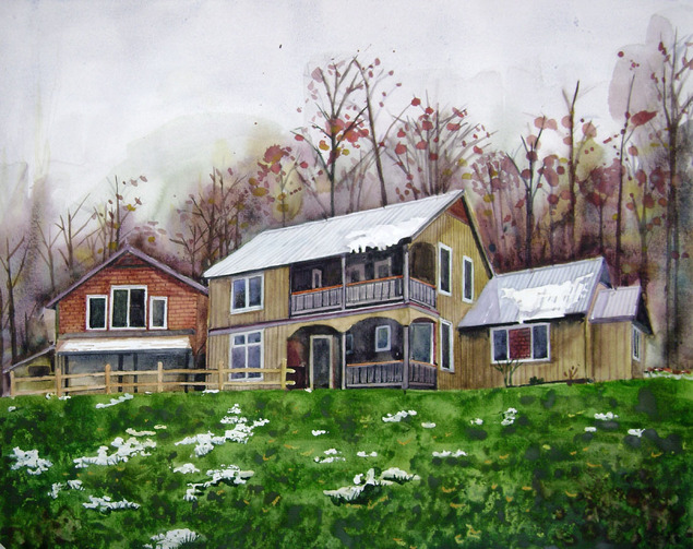 custom watercolor painting of a farmhouse around Spring