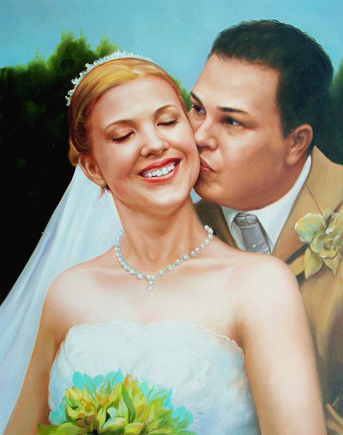 a custom oil painting of a groom kissing a bride on a cheek