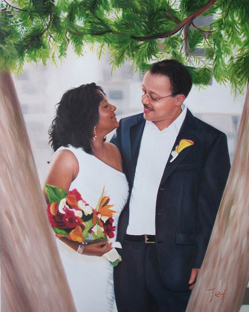 an oil painting of a wedding couple looking at each other