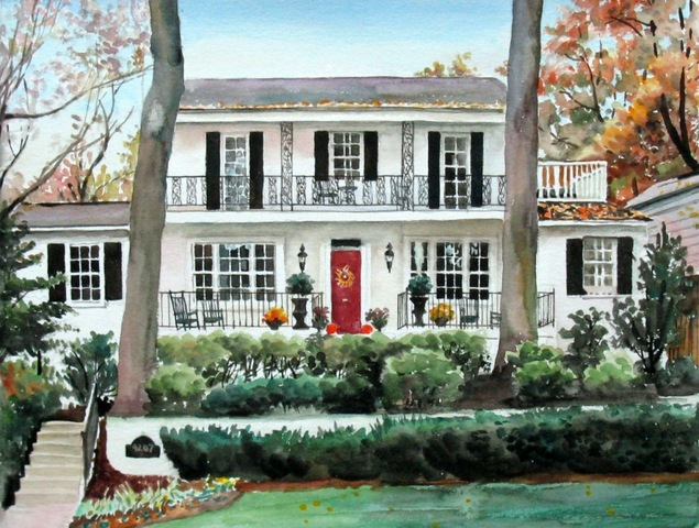 custom watercolor painting of a white house with a red door