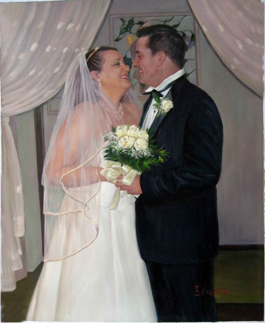 a custom oil painting of wedding couple hugging