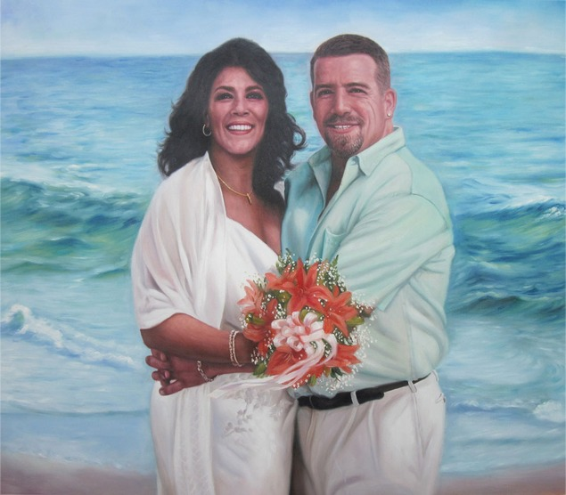 an oil painting of wedding couple at the beach
