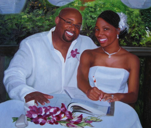 a custom oil paiting of black wedding couple outdoors