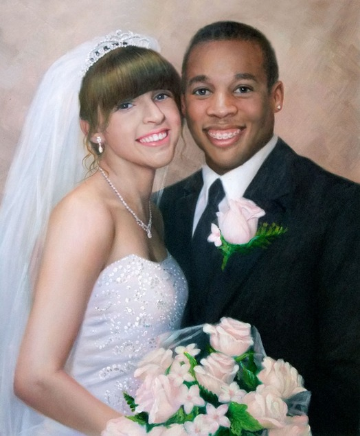 a custom oil painting of interracial couple
