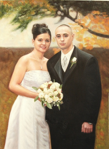a custom oil painting of wedding couple outdoors