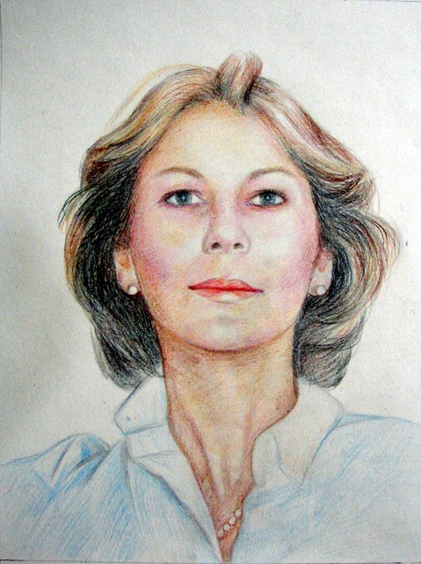 custom colored pencil portrait of a woman with short hair