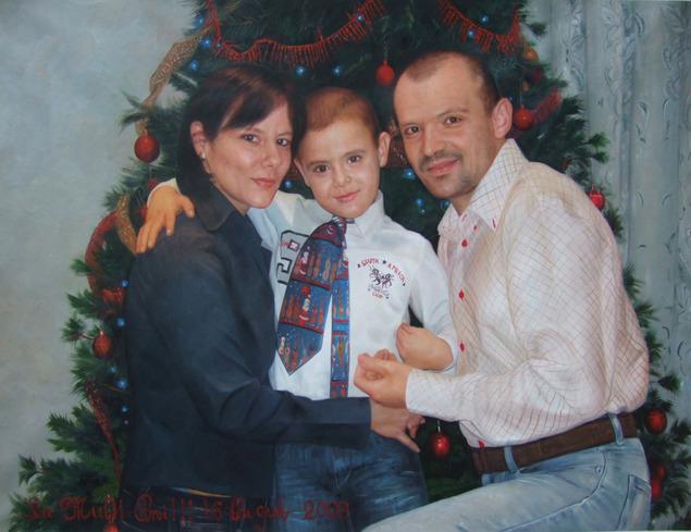 cuadros de familia, pintado de foto a mano, para regalar