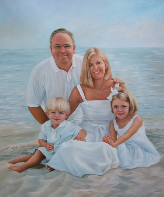 a custom oil painting family at the beach