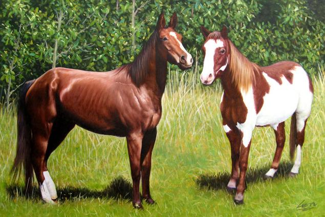 peinture de deux chevaux