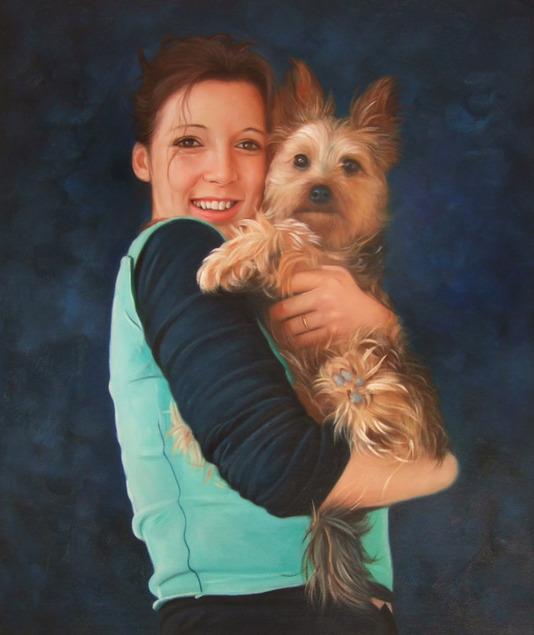 Portrait femme et son chien