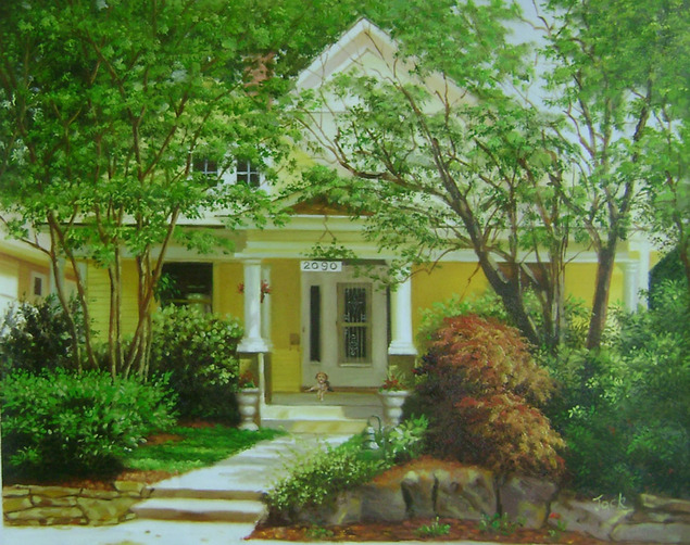 Custom oil painting of an yellow house in the woods