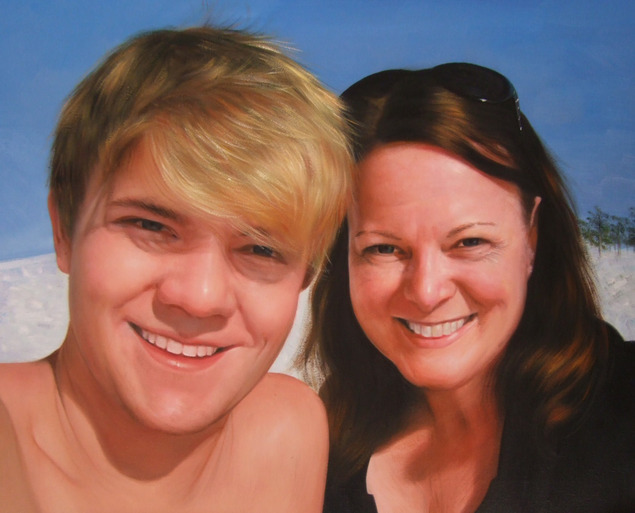 oil portrait of mother and son on a beach