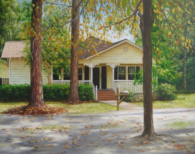 Custom oil painting of a yellow trim house in the woods
