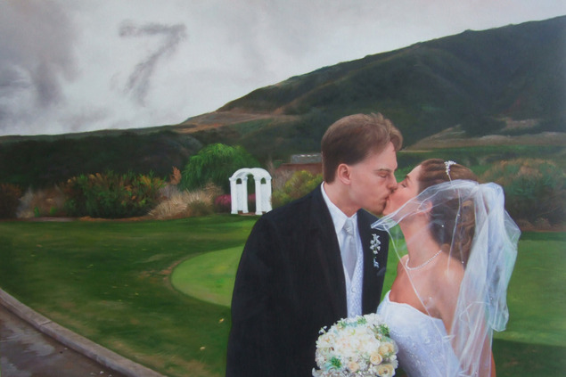 an oil painting of a wedding couple kissing outdoors