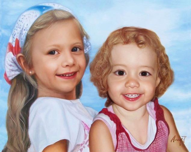 Kinder Foto gemalt in Öl