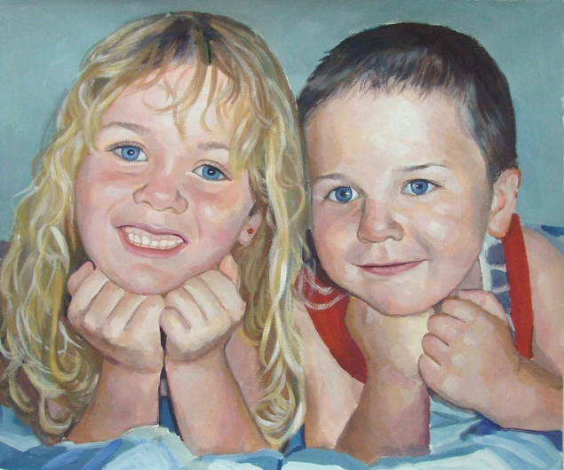 two children hand painted by a pastel artist