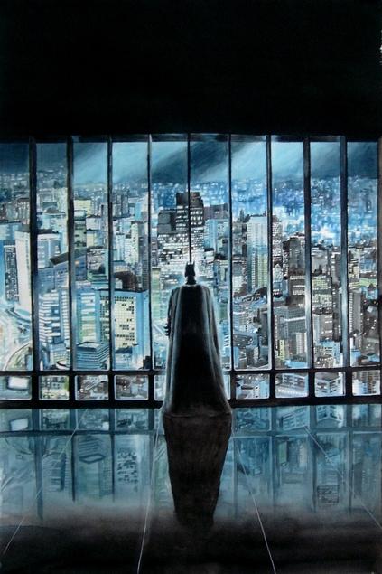 custom watercolor painting of Batman viewing the city