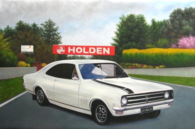 Custom oil handmade painting of an old white car