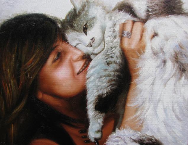 Custom oil painting of owner hugging her cat