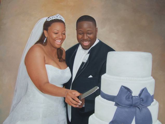 a custom oil painting of black couple cutting cake