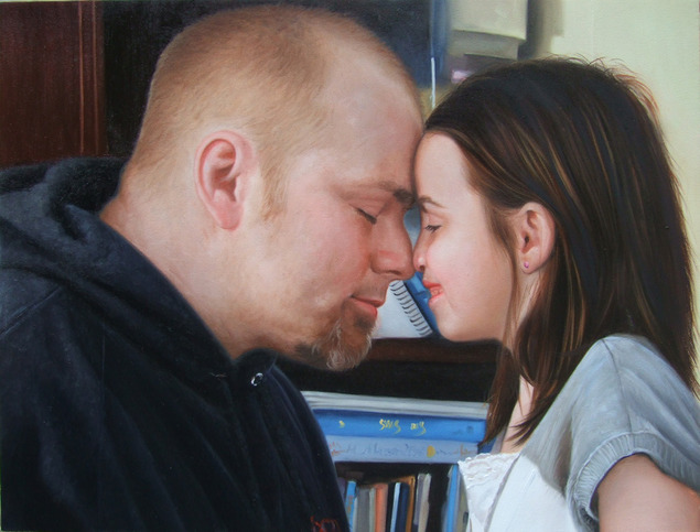an oil painting of father and child bonding
