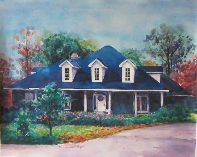 custom watercolor painting of a blue one story home