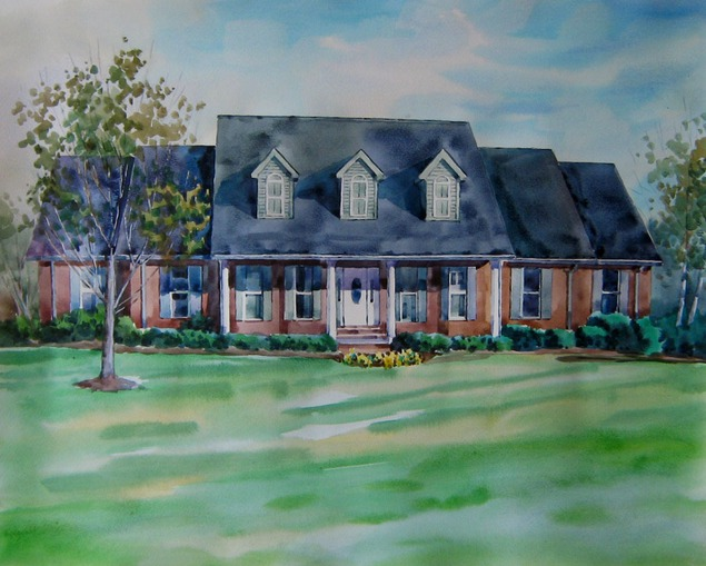custom watercolor painting of a shaded house