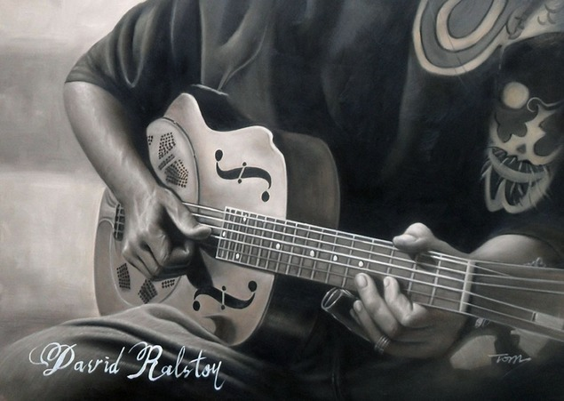 custom oil painting of guitar being played