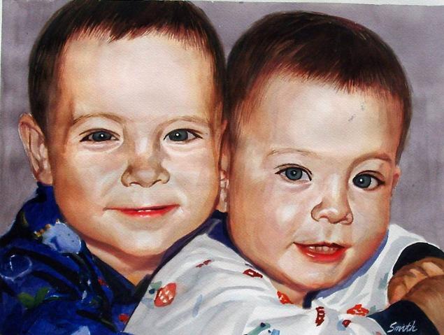 custom watercolor painting of two boys hugging