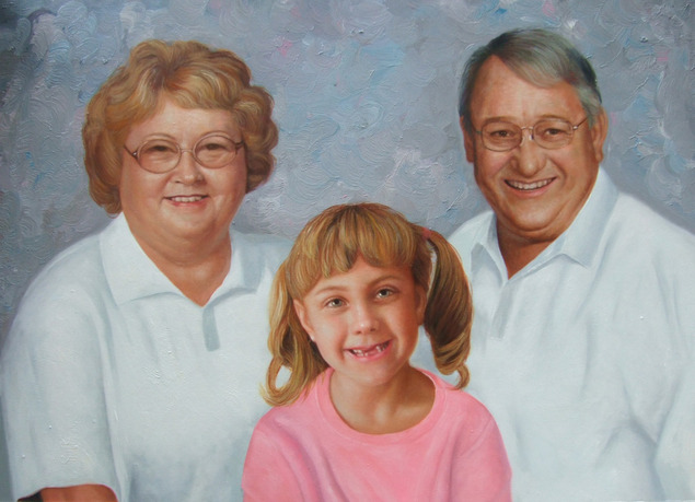a custom oil family painting