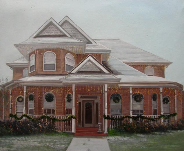 Handmade oil painting of a brick house christmas
