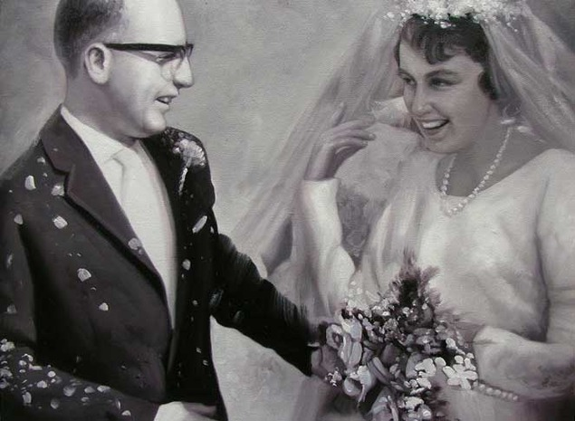 a black and white custom oil painting of wedding couple