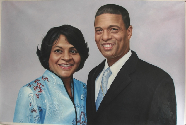 custom photo to oil painting of happy couple in traditional