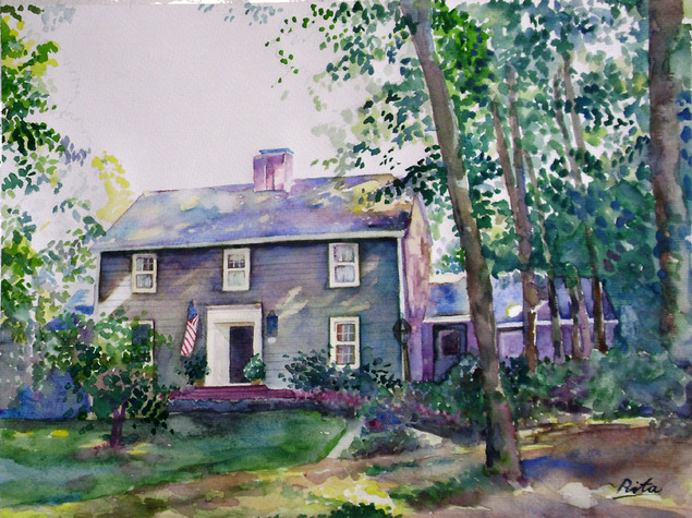 custom watercolor painting of an American home with trees