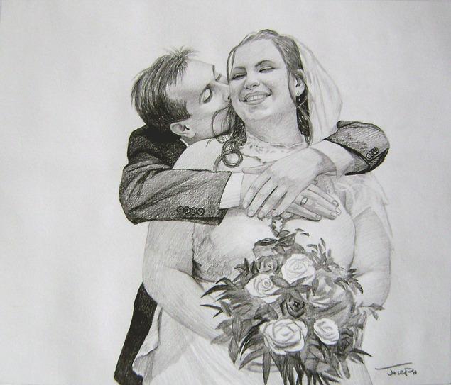 photo de mariage en dessin au crayon