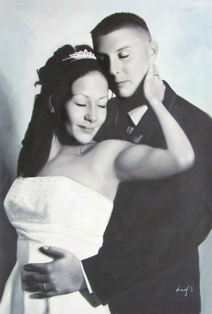 a black and white oil painting of a wedding couple hugging
