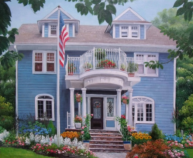 Handmade oil painting of a blue trim house
