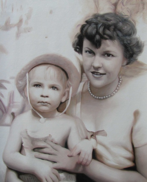 custom vintage oil portrait of mother and child