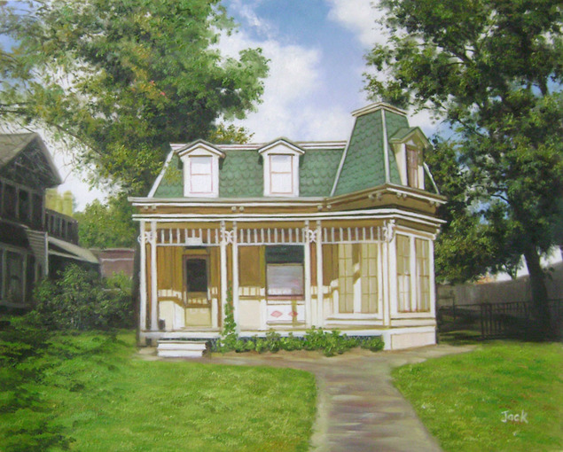 Handmade oil painting of an yellow green trim house