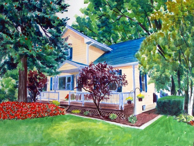 custom watercolor painting of a small yellow house with tree