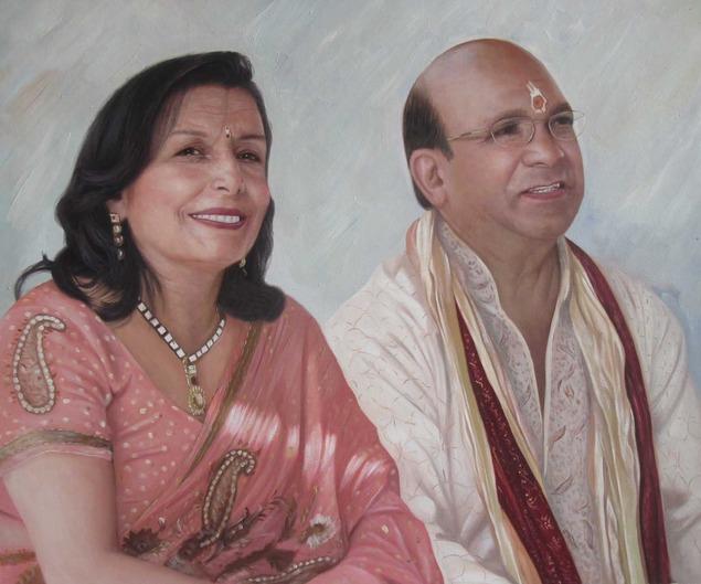 custom oil painting of happy elder Indian couple