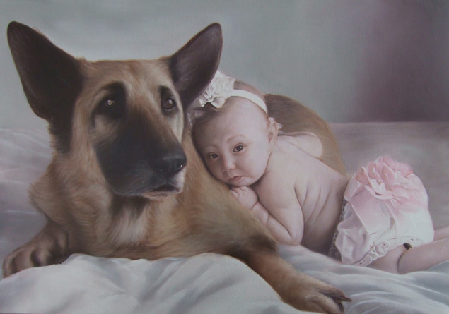 custom oil painting from photo - baby and pet portrait