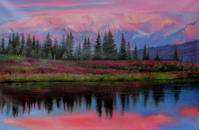colorful landscape painting of a lake