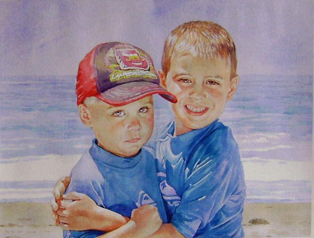 custom watercolor painting of brothers playing by the beach