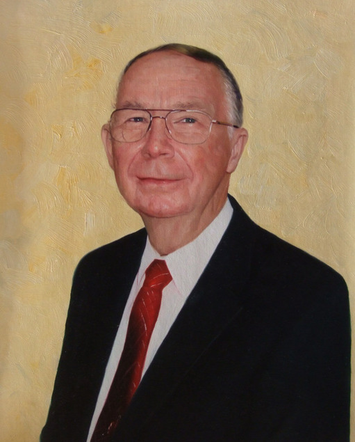 a custom oil painting of an elderly man in a suit