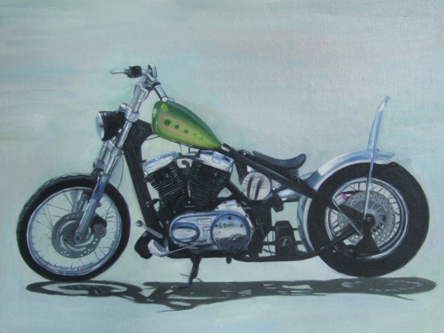 Custom oil handmade painting of a green gas tank bike