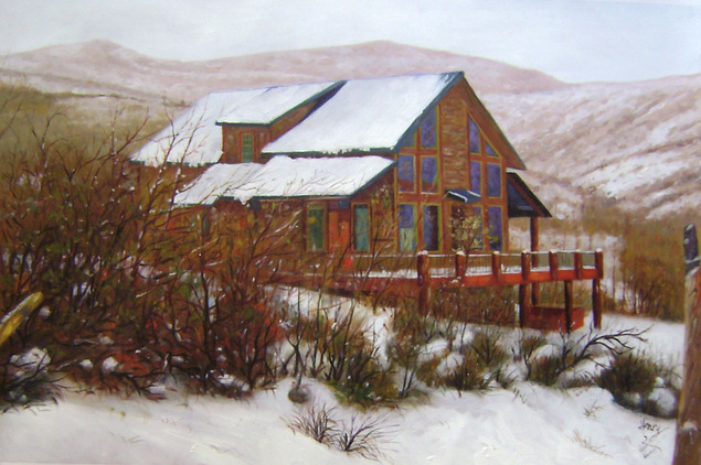 Handmade oil painting of a big wooden house in winter