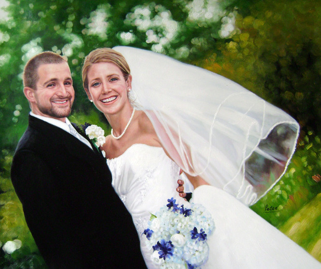 a custom oil painting of a wedding couple outdoors