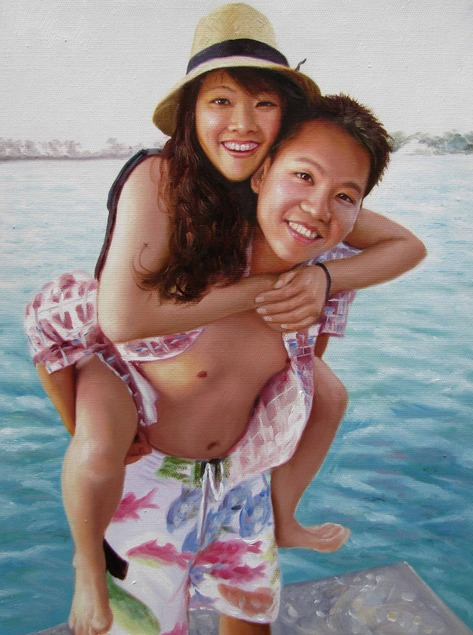 photo to paint of Asian couple by the beach
