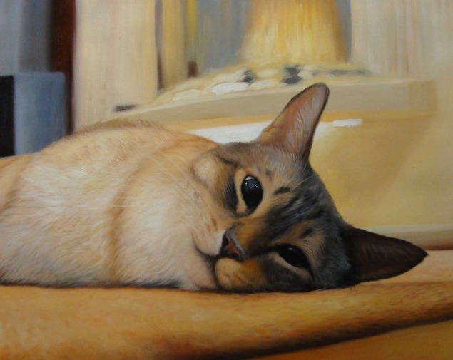 oil painting of a lazy cat laying down with blue eyes